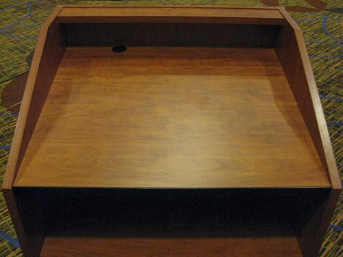 Podium-Pecan-table